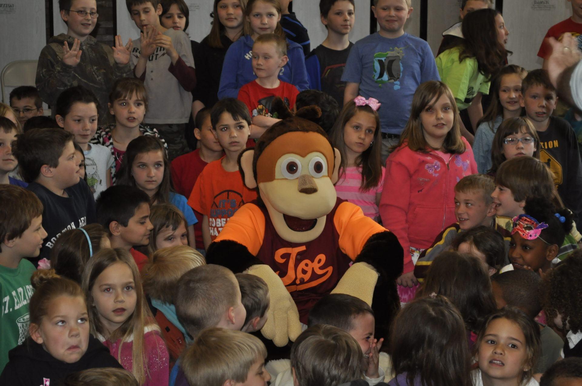 Joe the Monkey and kids.
