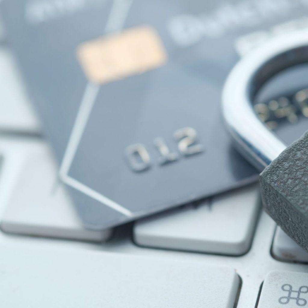 Credit card and padlock