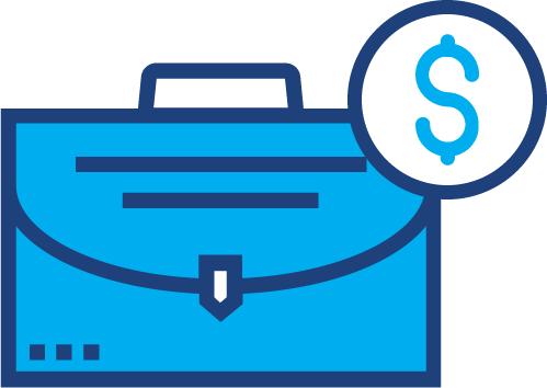 A graphical illustration of a brief case with a dollar sign on it