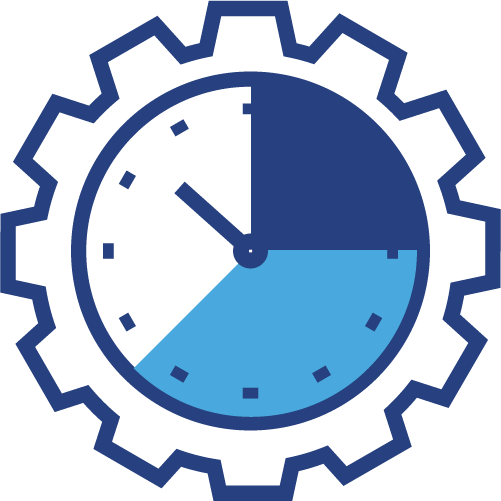 Graphical icon of a clock within a gear
