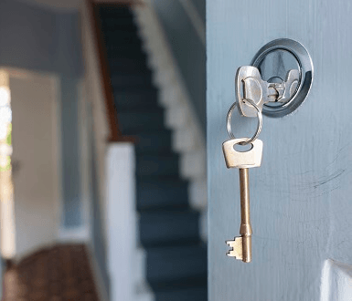 Keys in front door