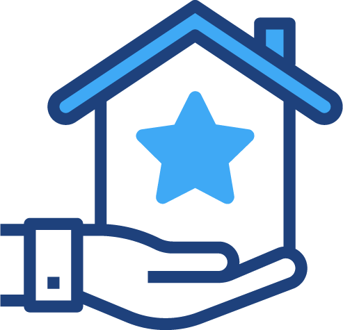 A graphical illustration of a hand holding a house with a star in it