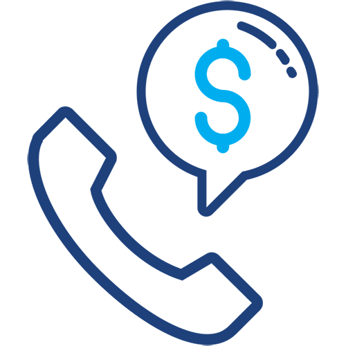 Graphical icon of a telephone and dollar sign
