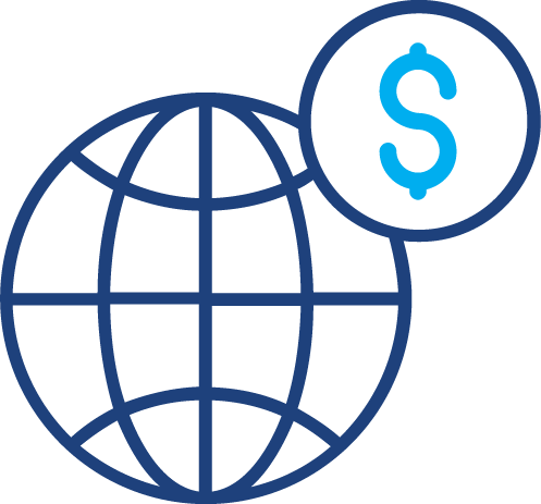 A graphical illustration of a globe and dollar sign