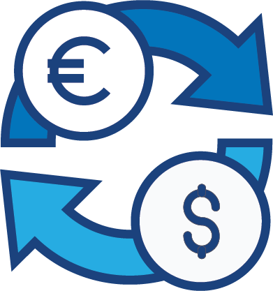 A graphical illustration of money changing from US to Euro