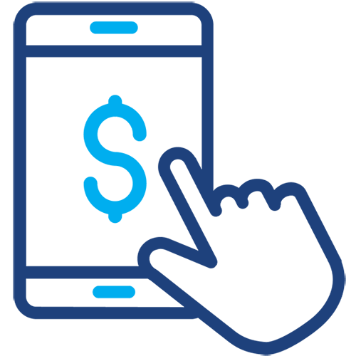 Drawing of a smartphone with a dollar sign and hand on it