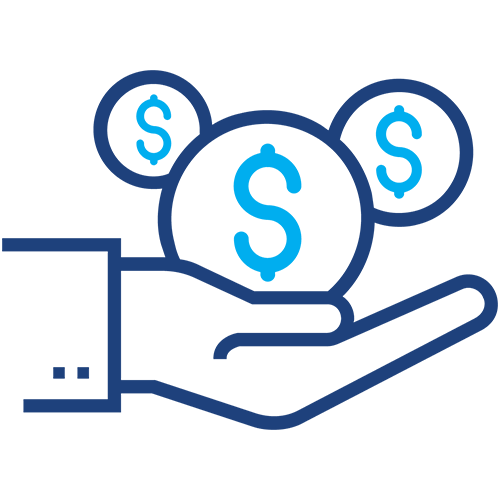 Hand holding money icon