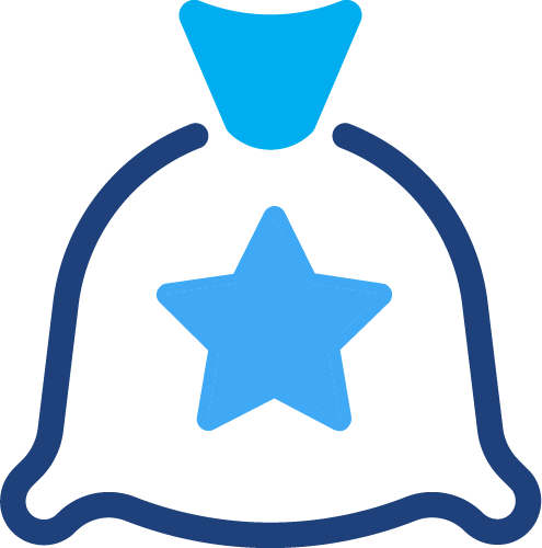 A graphical illustration of a piece of a money bag with a star within it