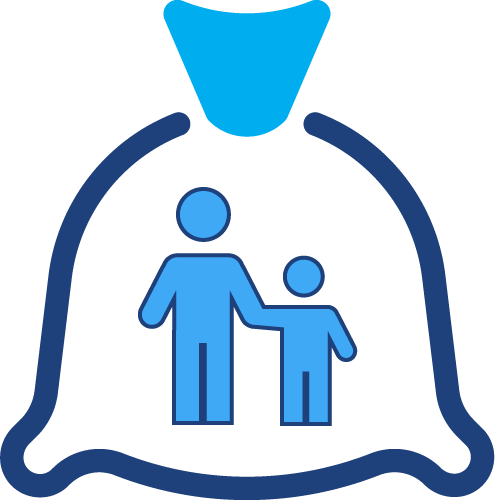 A graphical illustration of a money bag with two people standing in it