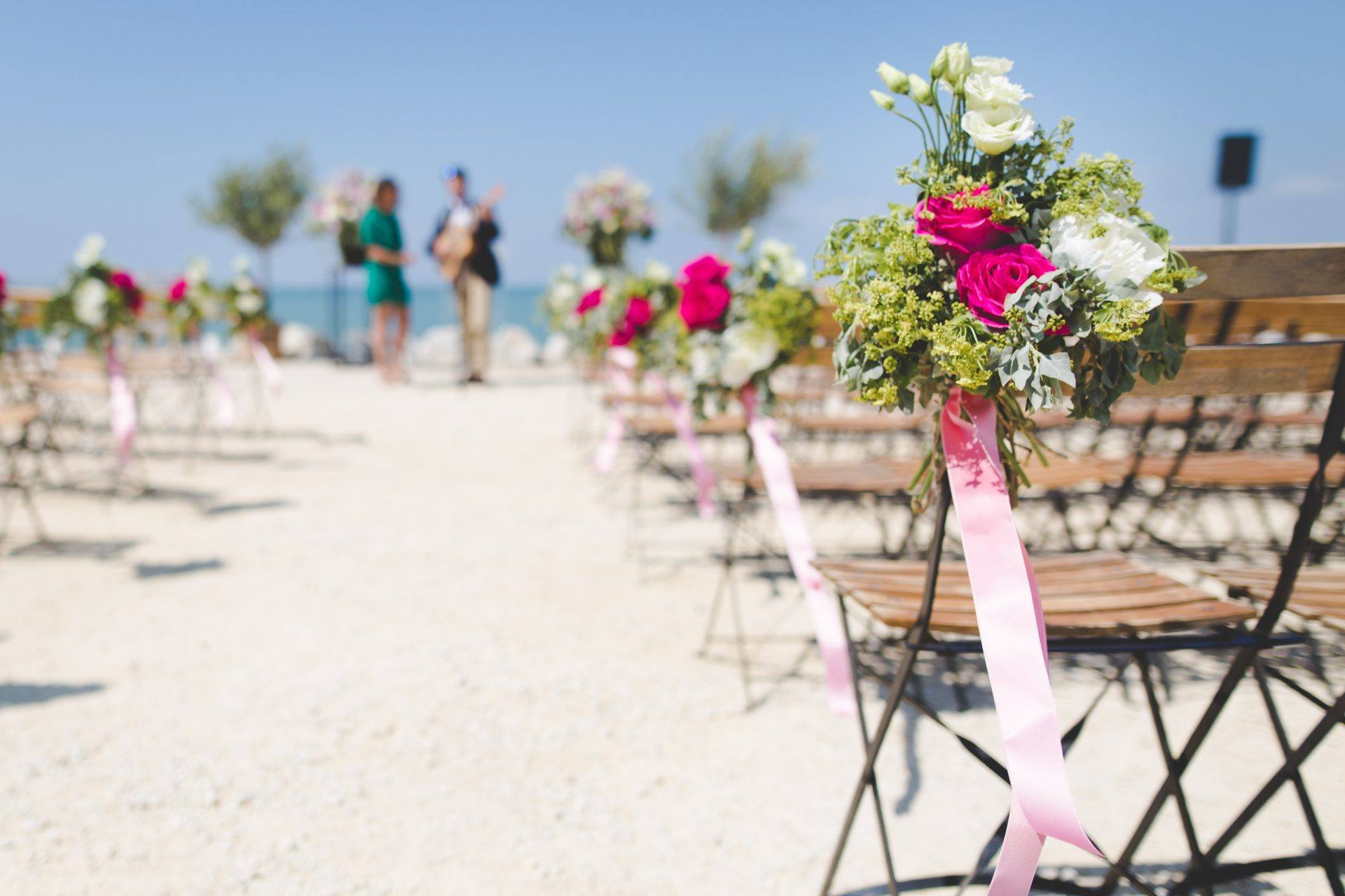 Chairs set up for beach wedding.