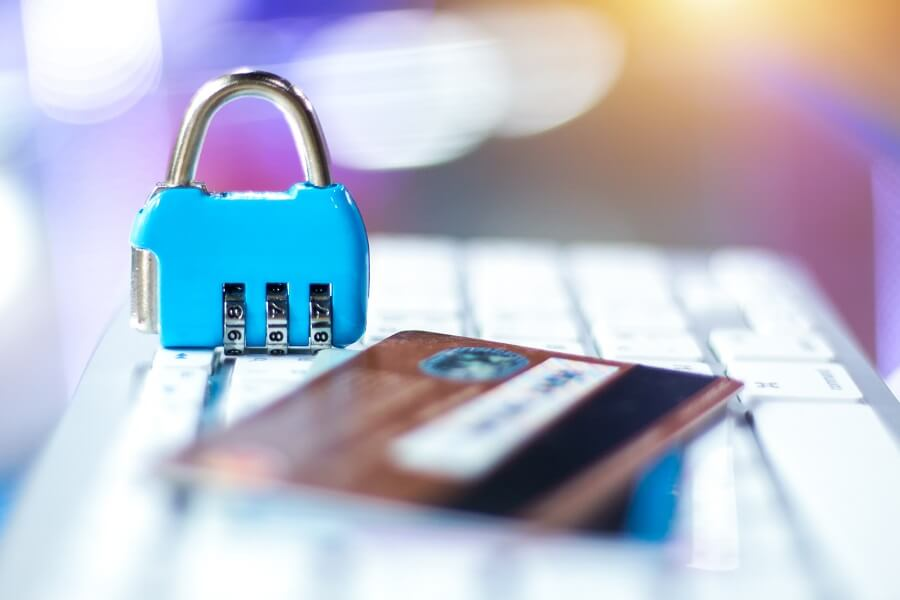 Credit card and padlock