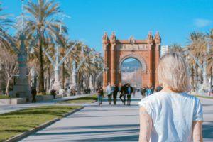 woman walking in europe