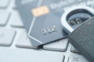 Credit cards and padlock
