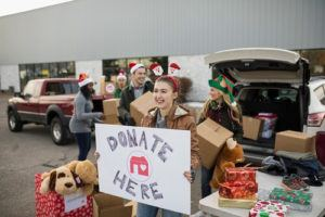 Girls Collecting Donations