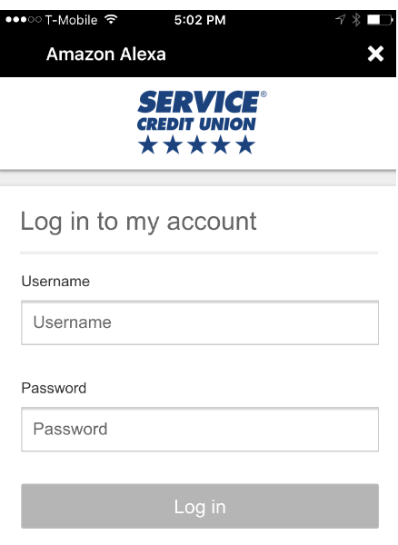 Alexa Login Screenshot