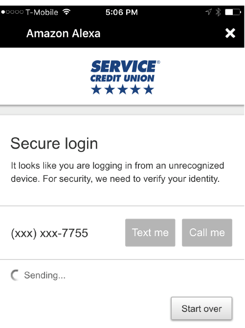 Alexa Secure Login Screenshot