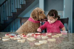 Little girl baking cookies with dog