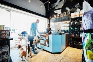 Business owner in shop with dogs