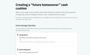 Creating a future homeowner cash cushion