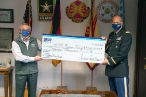 Service CU presenting donation to Army